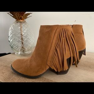 Brown Suede Fringe Ankle Boots
